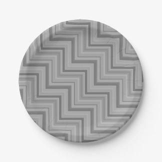 Grey stripes stairs pattern 7 inch paper plate