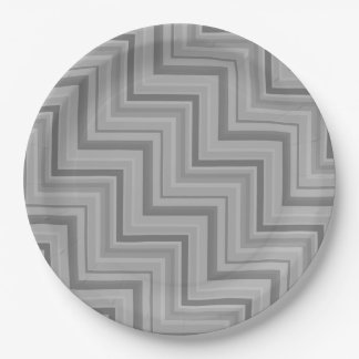 Grey stripes stairs pattern 9 inch paper plate