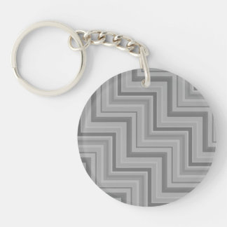 Grey stripes stairs pattern Double-Sided round acrylic key ring