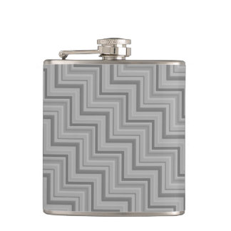Grey stripes stairs pattern hip flask