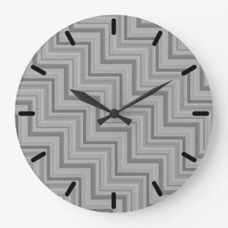 Grey stripes stairs pattern large clock