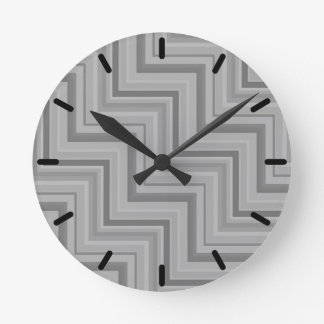 Grey stripes stairs pattern round clock