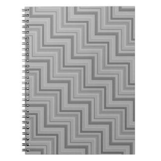 Grey stripes stairs pattern spiral notebook