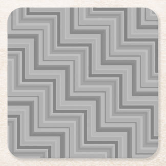 Grey stripes stairs pattern square paper coaster