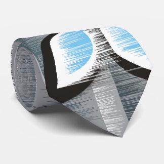 Grey stripes three blue petals modern wet paint tie