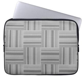 Grey stripes weave pattern laptop sleeve