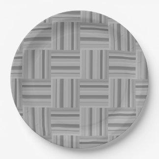 Grey stripes weave pattern paper plate