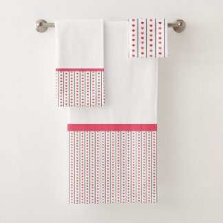 Grey Stripes with Pink & Red Hearts Bath Towel Set