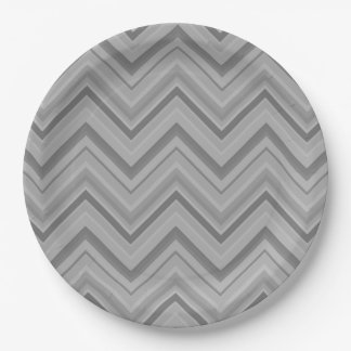 Grey stripes zigzag pattern 9 inch paper plate