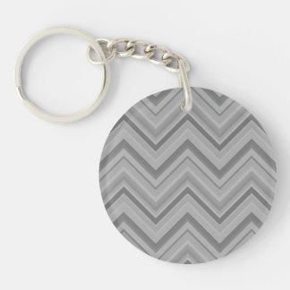 Grey stripes zigzag pattern key ring
