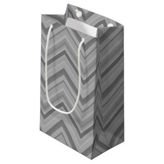 Grey stripes zigzag pattern small gift bag