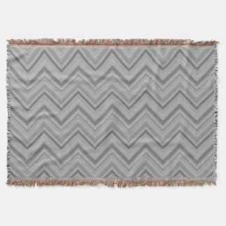 Grey stripes zigzag pattern throw blanket