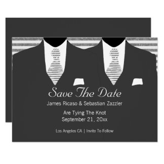 Grey Suit and Tie Gay Save The Date Wedding 9 Cm X 13 Cm Invitation Card