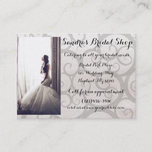 Bridal shop business cards zazzle au grey swirl bride bridal shop business card reheart Gallery