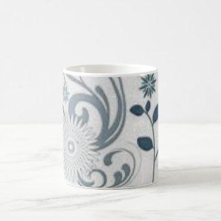 Grey Swirls and Flowers Coffee Mug