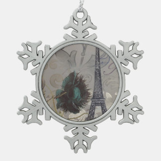 grey swirls modern vintage paris eiffel tower snowflake pewter christmas ornament