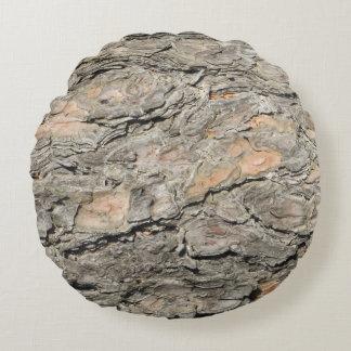 Grey, Tan Pine Tree Bark Round Cushion