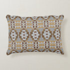 Grey Taupe Beige Dark Brown Eclectic Ethnic Art Decorative Cushion