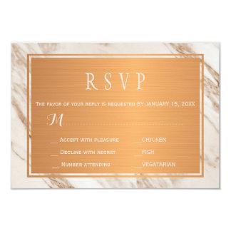 Grey taupe marble copper metallic wedding rsvp card