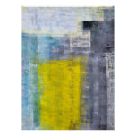 Grey, Teal and Yellow Abstract Art Poster