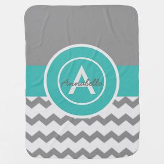 Grey Teal Chevron Baby Blanket