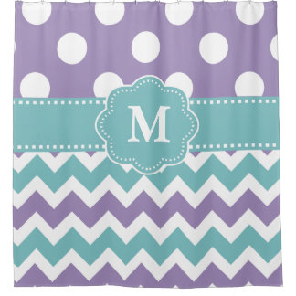 Grey Teal Purple Chevron Monogram Shower Curtain