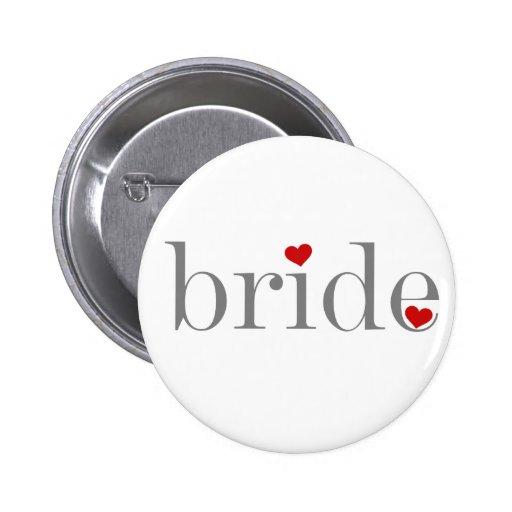 Grey Text Bride 6 Cm Round Badge