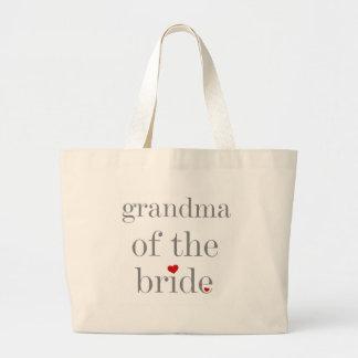 Grey Text Grandma of Bride Large Tote Bag