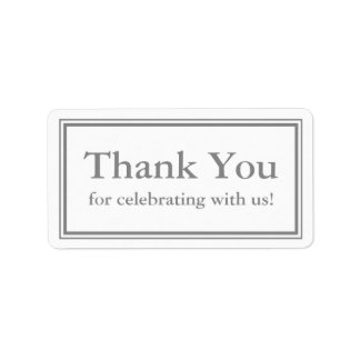 Grey Thank You Sticker or Wedding Gift Label