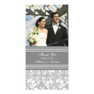 Grey Thank You Wedding Photo Cards
