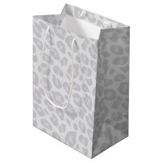 Grey Tonal Leopard Print Gift Bag