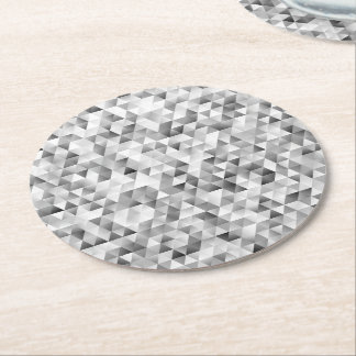 Grey triangle pattern round paper coaster
