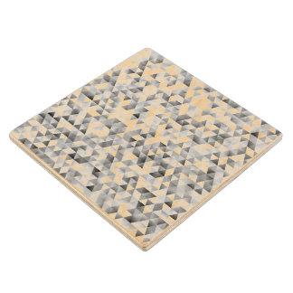 Grey triangle pattern wood coaster