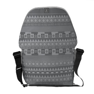 Grey tribal pattern commuter bag