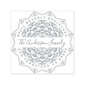 Grey Triumph Mandala Elegant Return Address Self-inking Stamp