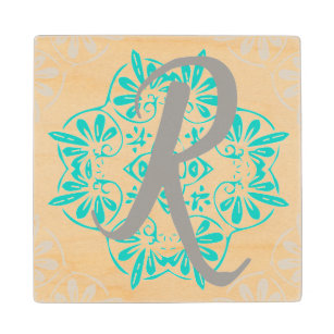 Grey Turquoise Modern Kaleidoscope Damask Pattern Wood Coaster