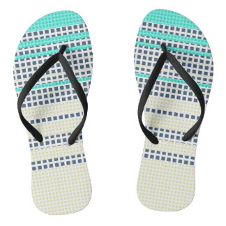 Grey turquoise plaid thongs