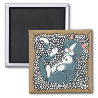 Grey Tuxedo Cat Sleeping in Box of Packing Peanuts Square Magnet