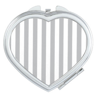 Grey Vertical Stripes Compact Mirrors
