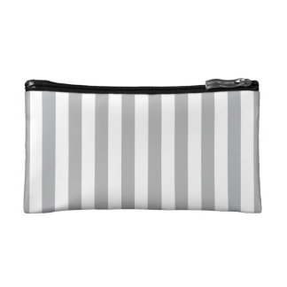 Grey Vertical Stripes Cosmetic Bags