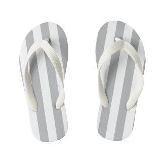 Grey Vertical Stripes Kid's Thongs