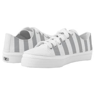 Grey Vertical Stripes Low Tops