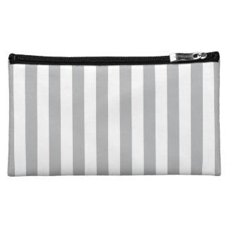 Grey Vertical Stripes Makeup Bags