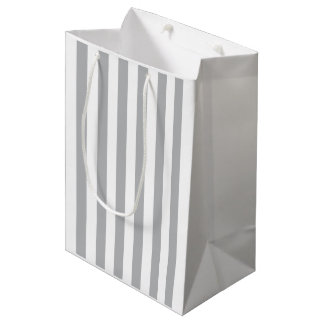 Grey Vertical Stripes Medium Gift Bag