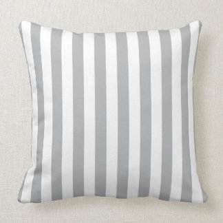 Grey Vertical Stripes Throw Pillow