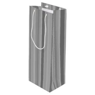 Grey vertical stripes wine gift bag