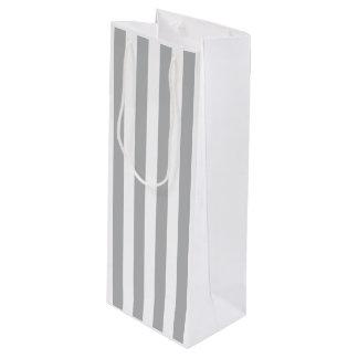Grey Vertical Stripes Wine Gift Bag
