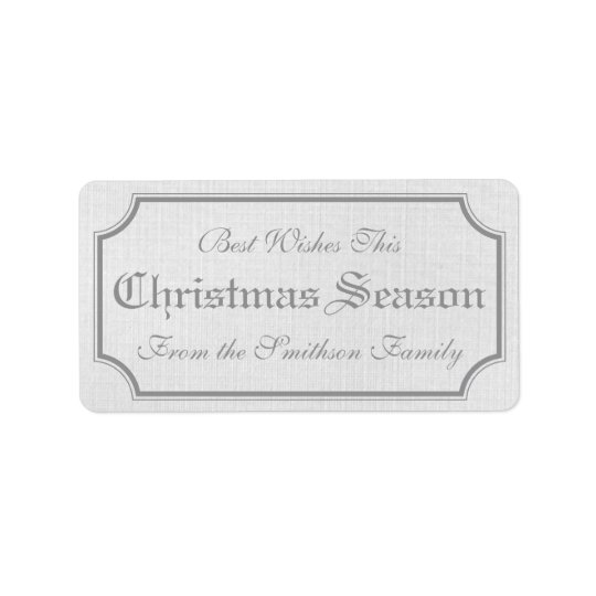 Grey Vintage Christmas Gift Label Stickers Address Label