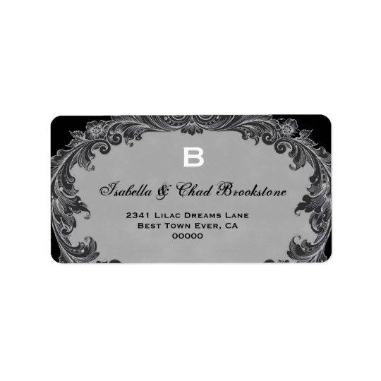 Grey Vintage Curlicue Wedding Monogram G460 Label