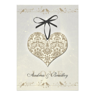 Grey Vintage Damask Heart Wedding Invitation